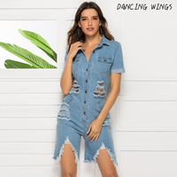 Fashion Tassel Hole Short Jumpsuit Spring Summer Short Sleeve Denim Women Playsuit Casual Overalls
