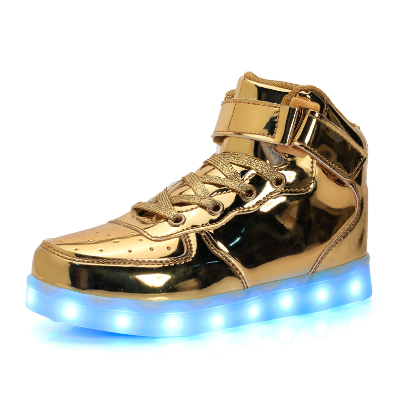 Usb lade basket led children shoes eur25-43 light sneakers with light up gold silver red children boys & girls glowing shoes