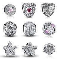 100 Authentic 925 Sterling Silver Dazzling Clear CZ Charm Beads Fit Pandora Bracelet Pendants DIY Original