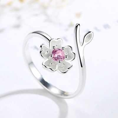 Phong Cách lãng mạn Mới Sang Trọng 925 Sterling Silver Hồng CZ Flower Nhẫn Đối Với Phụ Nữ Cưới Retro Có Thể Điều Chỉnh Kích Thước Nhẫn Đảng Quà Tặng