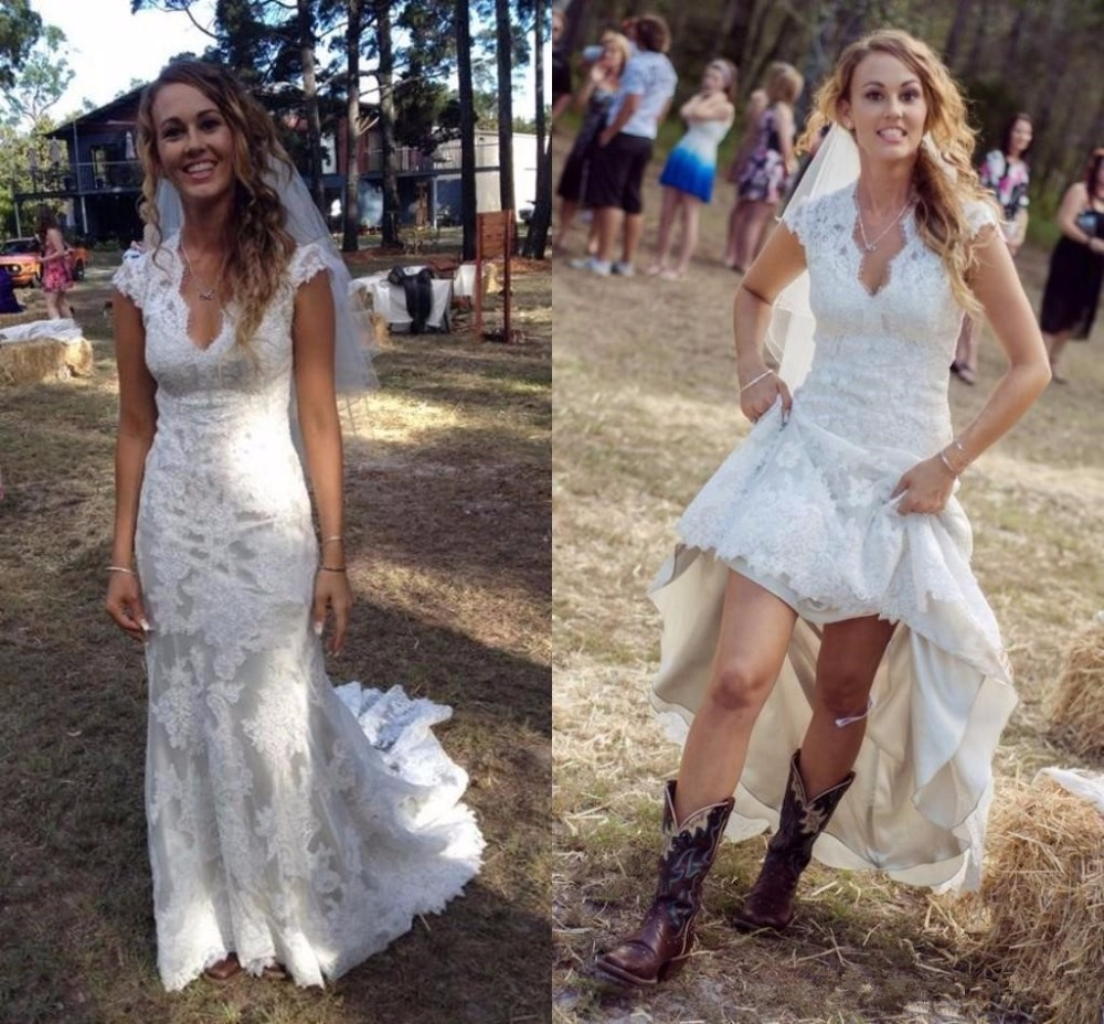 2017 vintage country wedding dresses v neck cap sleeves floor length lace wedding dresses cowgirls backless