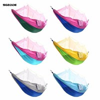 SGODDE Double Hammock Tree 2 People Person Patio Bed Swing Outdoor With Mosquito Net Nylon Fabric