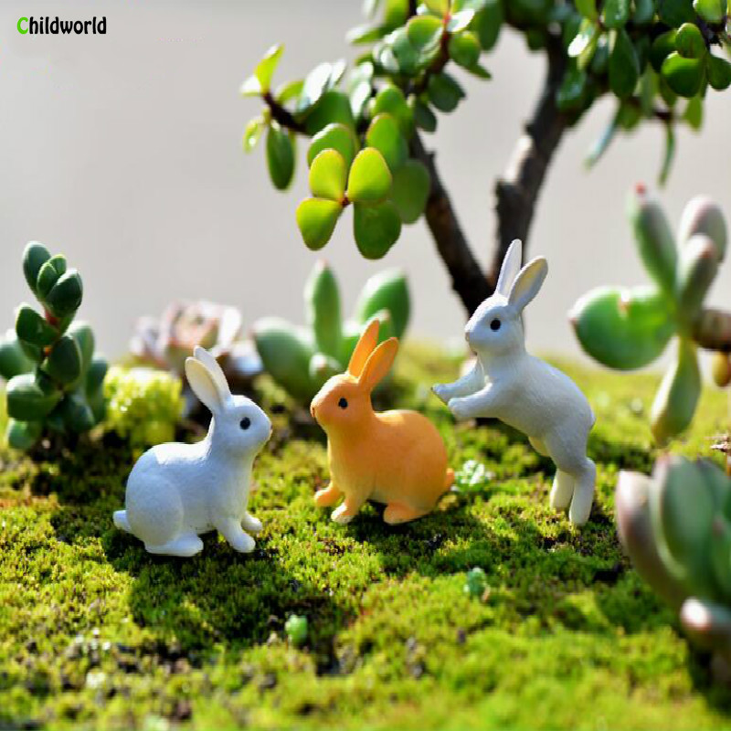 2019 Popular Party Home Decoration Accessories Pvc Cute Rabbit Miniature Fairy Easter Animal Garden Figurine Home Decoration in Figurines Miniatures from Home Garden