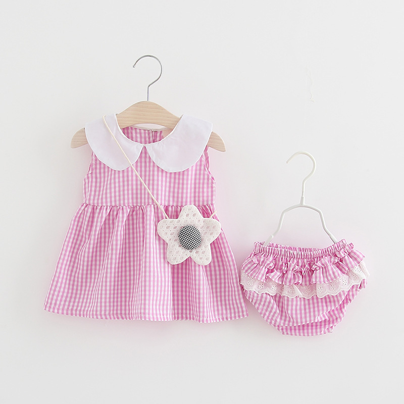 Newborn Baby girl clothes roupa de bebe bebek giyim Kid Summer Fashion Sets Plaid strap dress+ Lace Big ass pants+ Flower bag