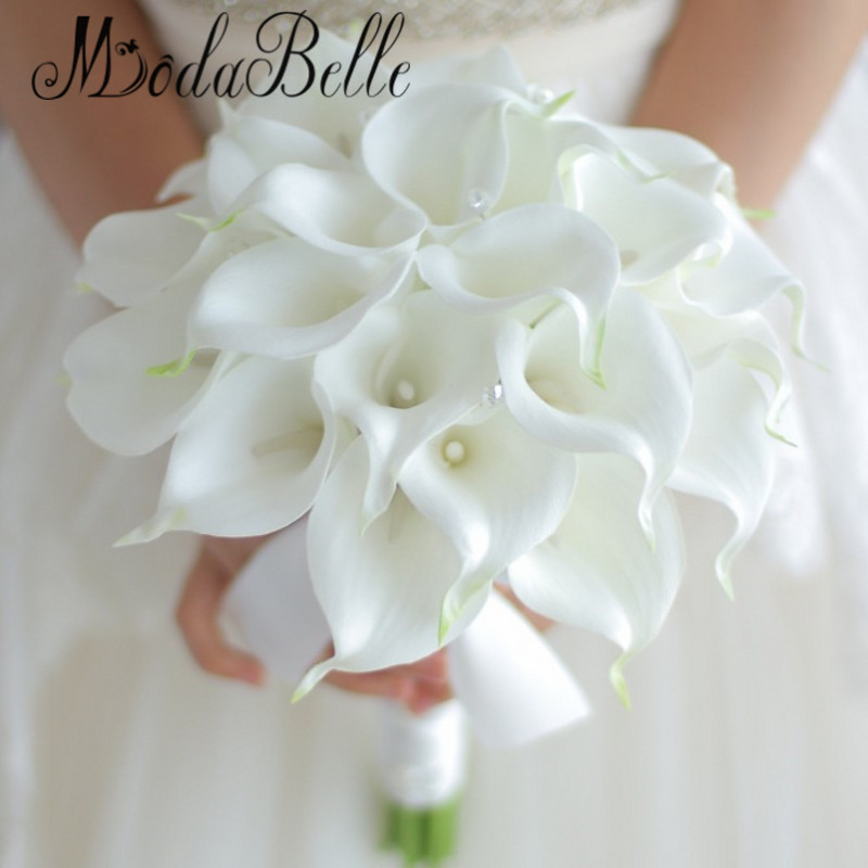 Lily Flower Wedding Bouquet: Vintage 2017 Custom White Calla Lily Bouquet Crystal Hand