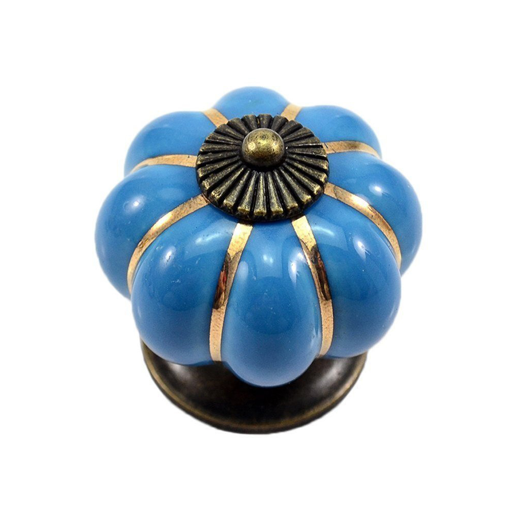 KSOL 12Pcs Pumpkin Zinc Ceramic Door Knobs Drawer Pull Handle Kitchen Cabinet Cupboard Wardrobe Blue