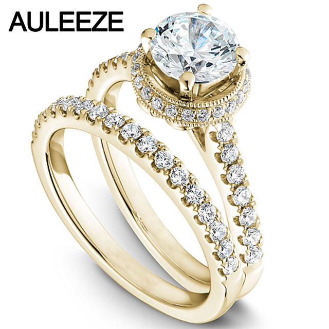 Modern Halo Round 1 Carat Moissanites Bride Wedding Ring Set Solid 14K 585 Yellow  Gold Engagement