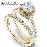 Modern Halo Round 1 Carat Moissanites Bride Wedding Ring Set Solid 14K 585 Yellow Gold Engagement