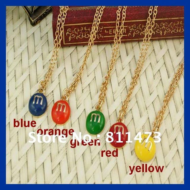 M&MS Pendant Necklace Free Shipping Great Gift For Friends wholesale New Strange You Can Choose Colour Blue Orange Green Yellow