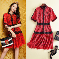 brand fashion high quality runway women short dresses summer 2018 embroidered short sleeve lace dress red free shipping s m l