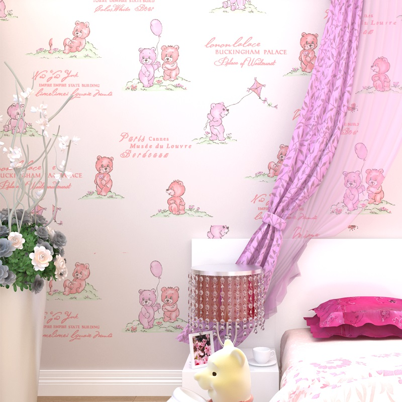 Cute kindergarten cartoon bear balloon kite children's room wallpaper girl boy bedroom living room 3d prepreg non-woven TV wall 2017 real photo wallpaper papel pintado paysota children room non woven wall paper cartoon balloon girl boy bedroom background