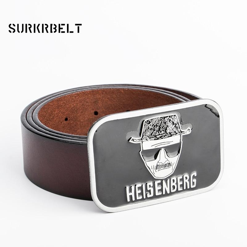 58e5ce4e92fb Heisenberg De Luxe Punk Rock Designer Ceintures Hommes de Haute Qualité En  Cuir Véritable Ceinture Homme Hip Hop Jeans Moto Sangle