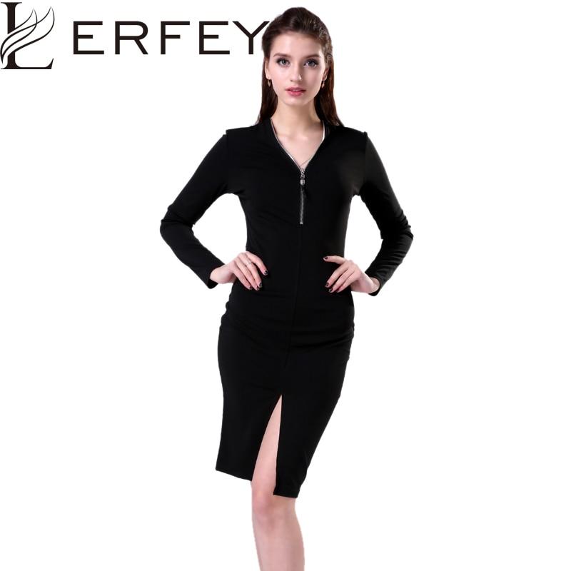 LERFEY női szexi bodycon ruha őszi cipzár hüvely fekete ruha - Női ruházat