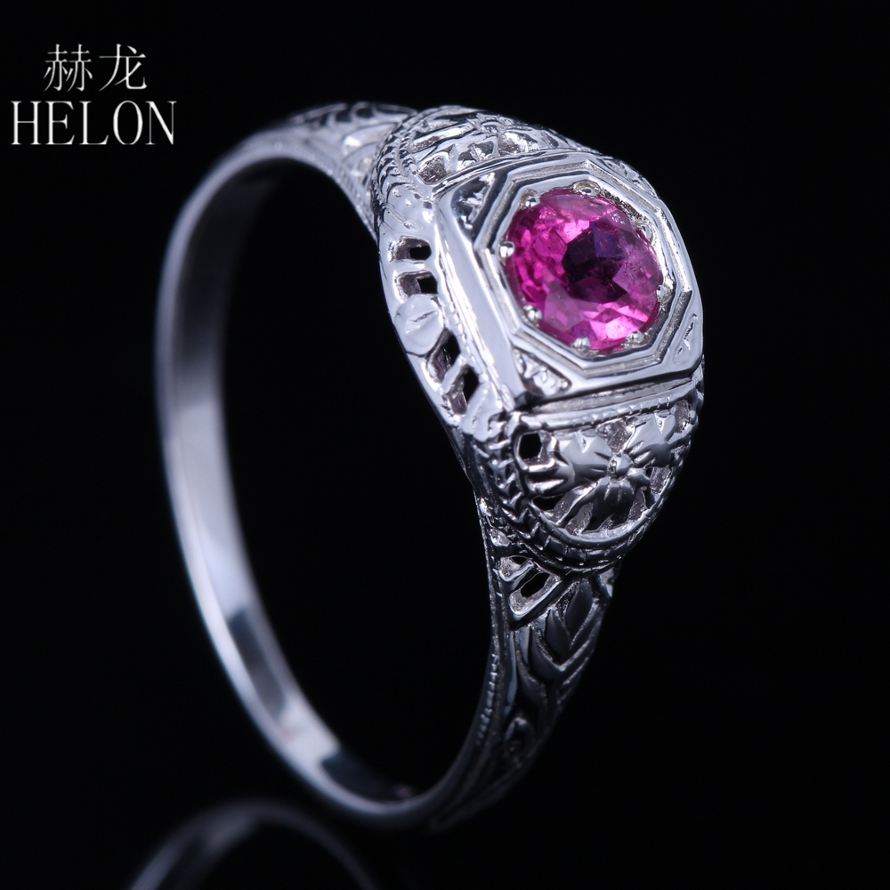 HELON PRETTY SOLID 10K WHITE GOLD ANTIQUE FILIGREE NATURAL TOURMALINE ART DECO VINTAGE RING WOMEN'S JEWELRY FINE RING