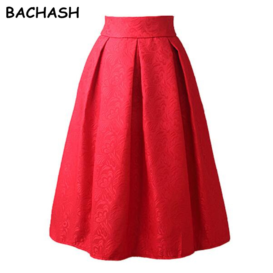 BACHASH New Faldas 2018 Summer Style Vintage Skirt High Waist Work Wear Midi Skirts Womens Fashion Red Black Jupe Femme Saias