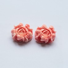 Wholesale!New Arrival Pink Conch Shell Carved Flowers Earring beads,23X19X12mm,8.6g(China)