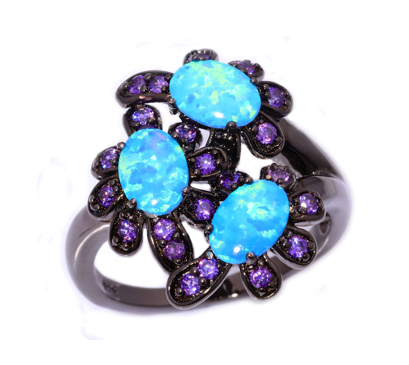 Nrew Elegant Fashion Luxury Wholesale For Women Jewelry Blue Fire Opal Amethyst Black Gold Ring Size