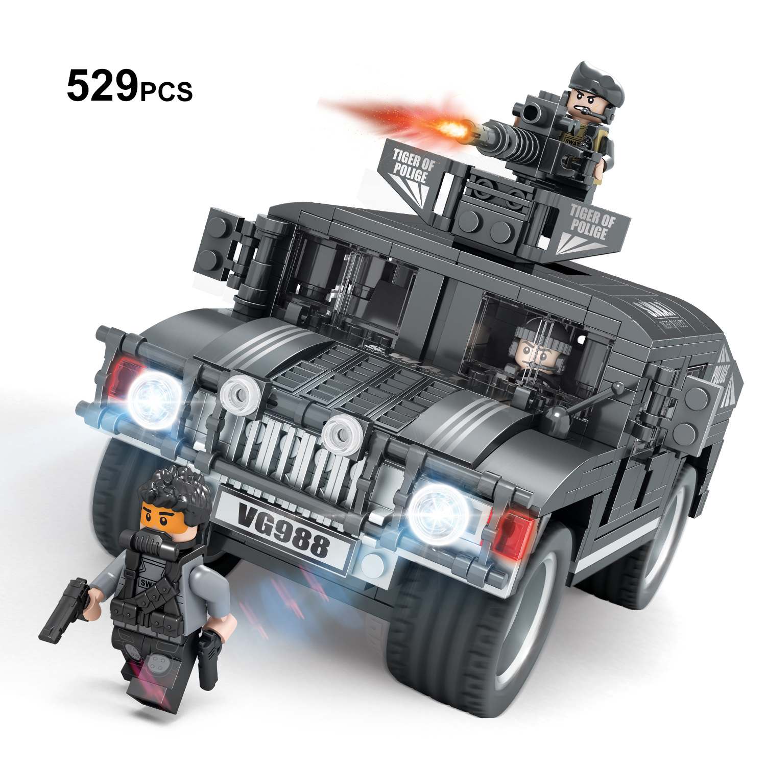 529 Military SWAT Truck Building Blocks Set,Police Jeep Building Bricks Toy with Figures,2 Different Design for Building police station swat hotel police doll military series 3d model building blocks construction eductional bricks building block set
