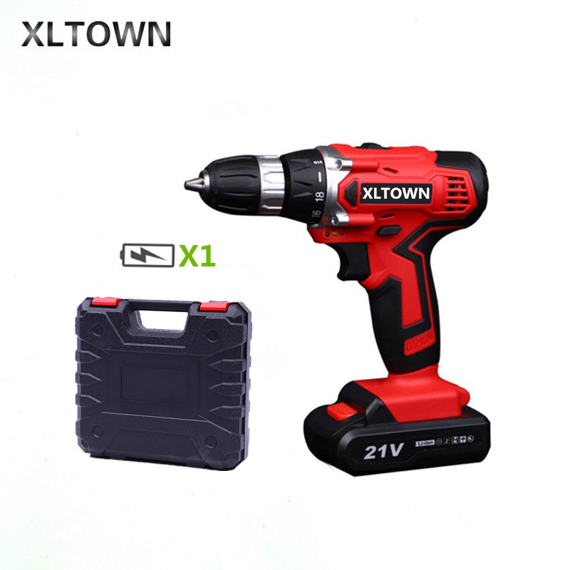 XLTOWN 21v electric screwdriver rechargeable lithium battery electric screwdriver home cordless Multifunction drill Power tools xltown new 21v home cordless electric drill with 2 battery a box multi motion lithium battery rechargeable electric screwdriver
