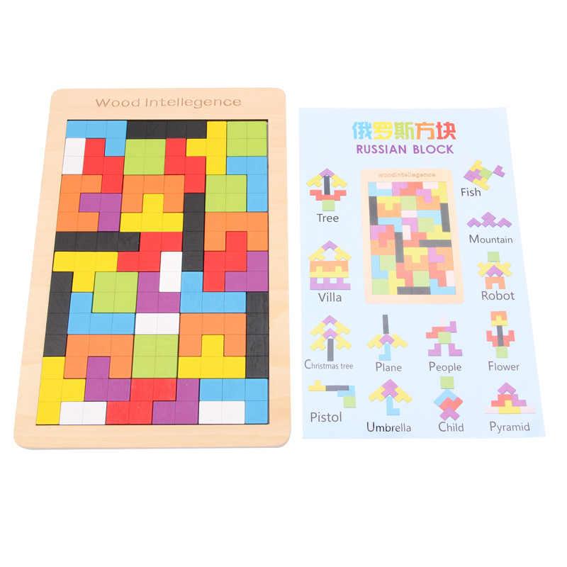2018 детская игрушка красочная деревянная головоломка Танграм головоломка игрушки тетрис игра дошкольного магирования интеллектуальная развивающая подарок