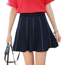 new summer aline denim skirts womens high waist pleated blue jean skirt vintage plus size short skirt faldas mujer