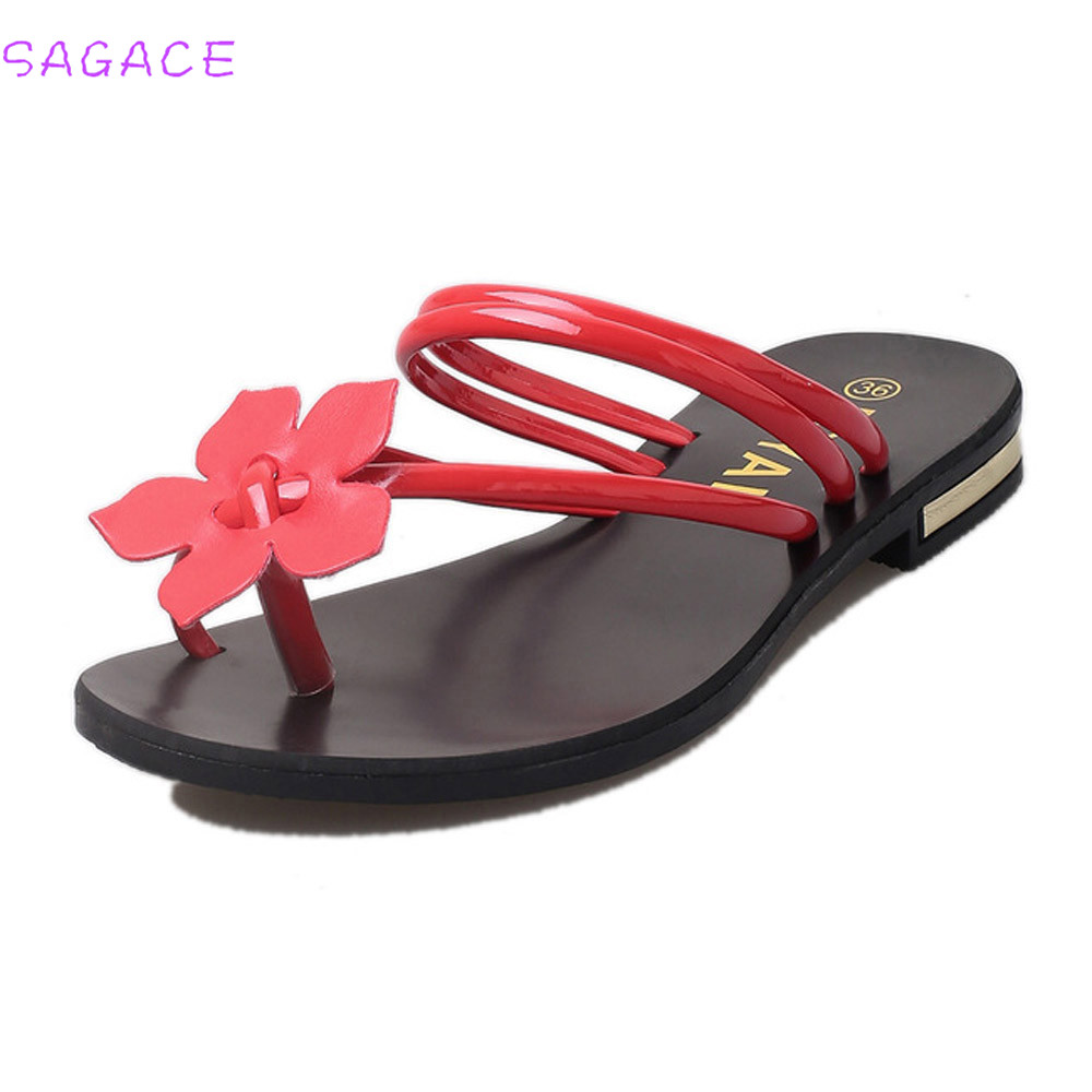 SAGACE 2018 Summer Fashion Women Bohemia Slippers Lady Flower Weave Sandals Beach Peep-Toe Flip Flops Shoes Casual Female New
