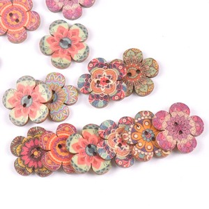 Mixed Flower Pattern Wooden Buttons For Clothing Sewing DIY Crafts Scrapbook Handmade Home Decor Supplies 20/25mm 50pcs m2511