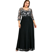 Gamiss Plus Size Sequined Floral Maxi Prom Women Party Long Dress 3 4  Length Sleeves Floral High Waist Woman Formal Dresses 5XL 06b5619f1c90