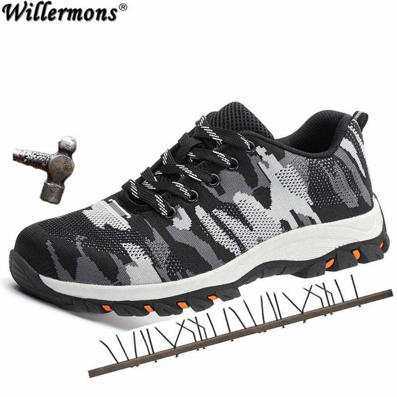 2019 Novos homens Ao Ar Livre Respirável Biqueira de Aço Sapatos de Trabalho de Protecção Homens Calçados de Segurança À Prova de Punção Indestrutível De Aço Meados Único