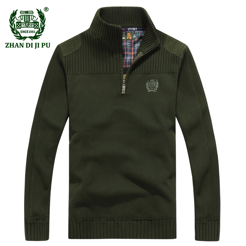 2018 Men's winter warm casual brand blue knitwear pullover man spring high quality 100% cotton afs jeep army green sweater S XXL