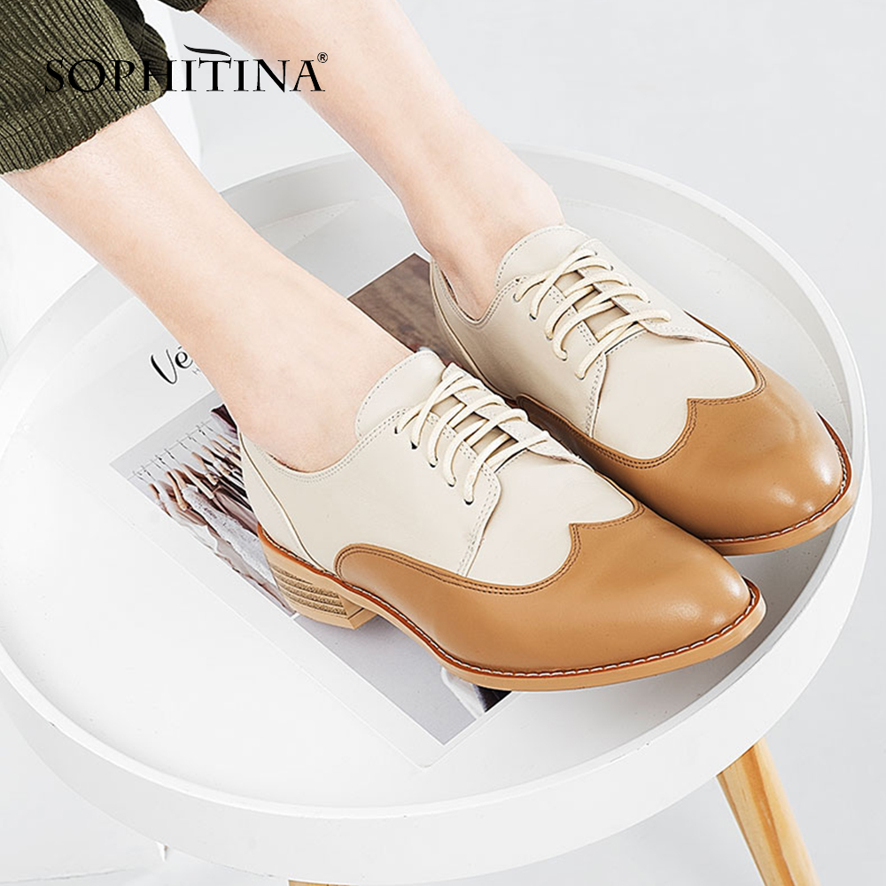 SOPHITINA Casual Women Brogue Shoes Quality Genuine Leather Fashion Mixed Colors Lace up Ladies Shoes Elegant cozy Flats PO104 in Women 39 s Flats from Shoes