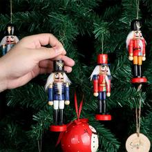 6PCS 12CM Christmas Ornaments Nutcracker Puppet Tin Soldiers Doll Childrens Holiday Gifts Wood Desktop Decoration
