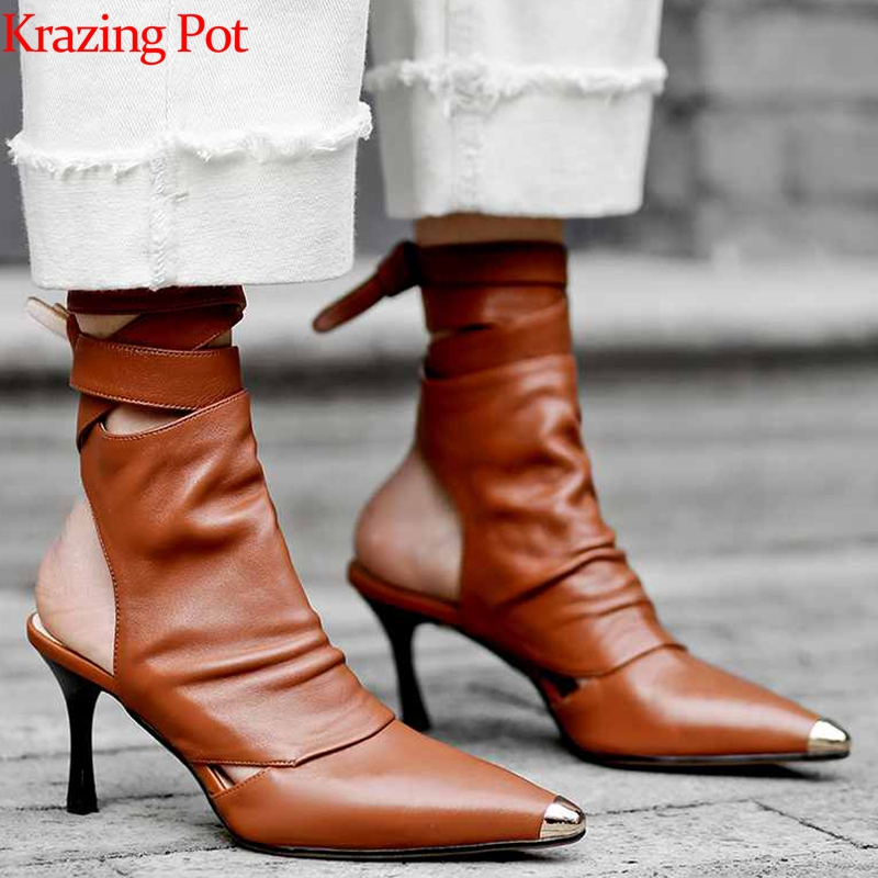 Krazing Pot 2019 genuine leather ankle lace up stiletto high heels summer boots high heels luxury