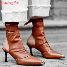 Krazing סיר 2020 אמיתי עור קרסול תחרה עד פגיון עקבים גבוהים קיץ מגפיים גבוהה עקבים יוקרה הבוהן מחודדת אביב נעליים l30