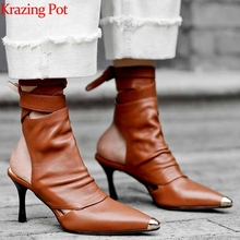 Krazing Pot 2020 genuine leather ankle lace up stiletto high heels summer boots high heels luxury pointed toe Spring shoes L30