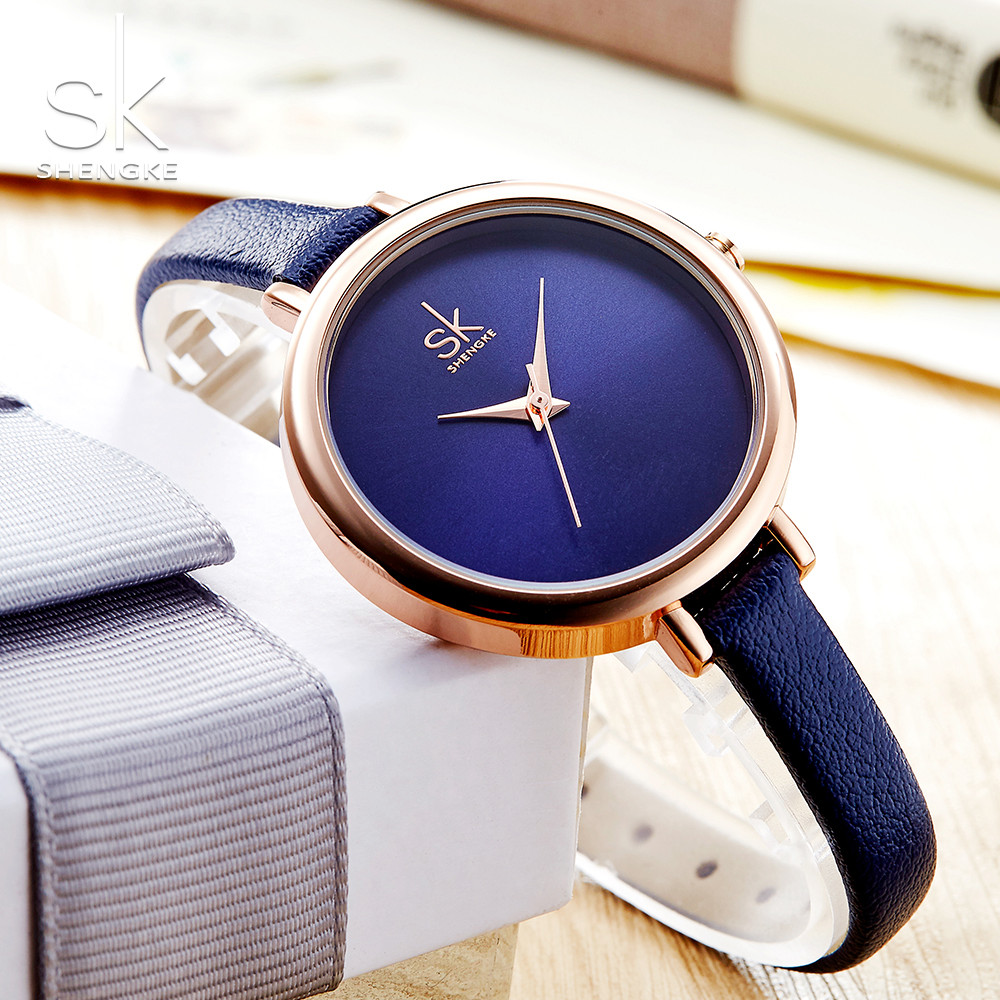 Shengke Elegant Slim Quartz Watch Top Brand Leather Women Watches Ladies Business  Wristwatch Relojes Mujer Hot Clock 2018 hot design leather strap watch elegant quartz wristwatch men women clock black