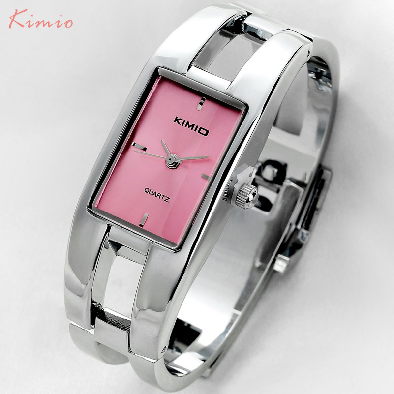 fashion women quartz watches KIMIO brand bracelet watches luxury lady dress watches 2017 gift clock wristwatches rectangle case 2017 new hot kimio women s brand watches stainless steel fashion quartz bracelet wristwatches women lady dress watch clocks