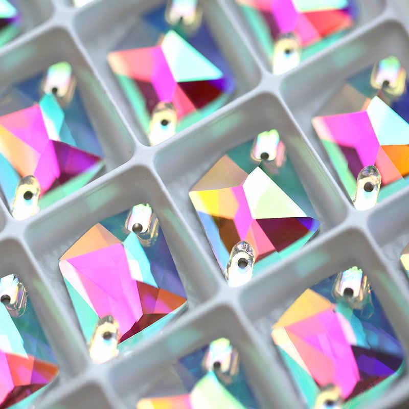 AAAAA Kualitas Kosmik 3 Ukuran Pear Bentuk Kristal AB Menjahit Rhinestones Datar Kembali Kristal Jahit Berlian Imitasi Kristal Batu