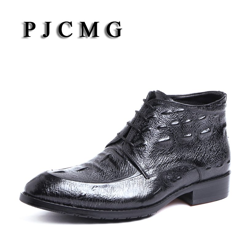 PJCMG Fashion Boots High Quality Genuine Leather Spring/Autumn Pointed Toe Lace-Up Oxford Ankle Party Wedding Boots For Men
