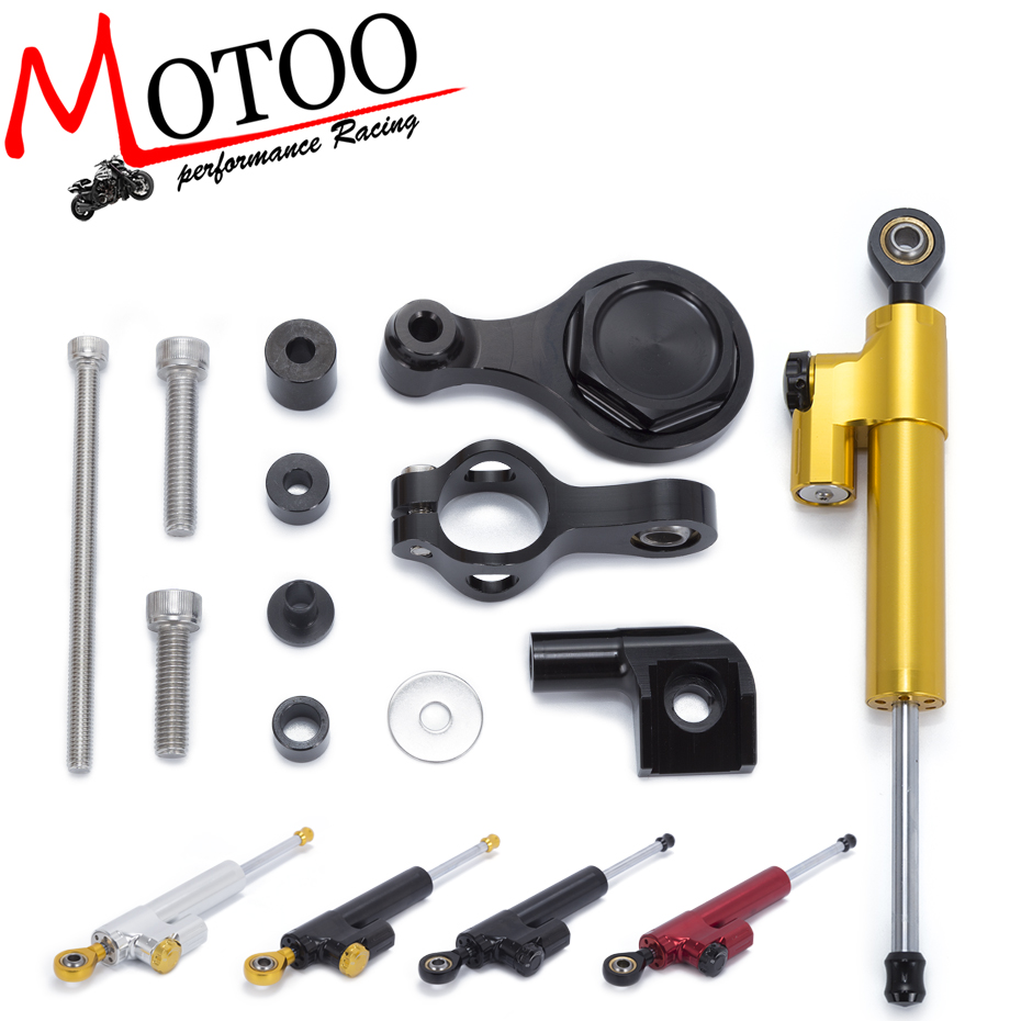 Motoo Motorcycle CNC Damper Steering StabilizerLinear Reversed Safety Control with Bracket For YAMAHA YZF R1 R6