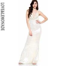 LOVE LEMONADE Love Lemonade Gold V-Necked Chain Decoration Long Dress TB  10173 05c917cda994