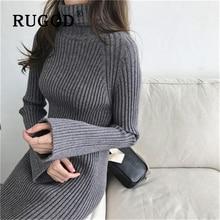 RUGOD Elegant Flare sleebe knitted bodycon dress women Korean chic tunic knee length split ladies Fashion turtleneck
