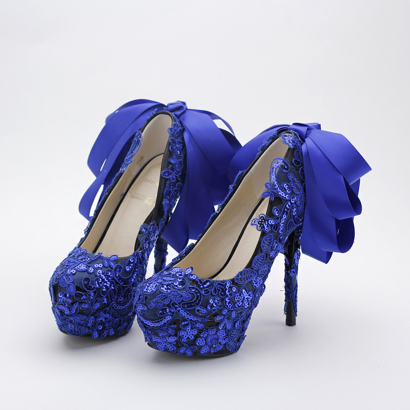 Blue color fashion lace Bows bridal shoes lace sequins nightclub shoes with high heel wedding shoes