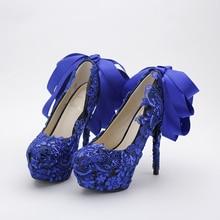 สีฟ้าแฟชั่นลูกไม้โบว์รองเท้าเจ้าสาวลูกไม้เลื่อมไนท์คลับรองเท้าแต่งงานส้นสูงรองเท้าผู้หญิงปั๊ม