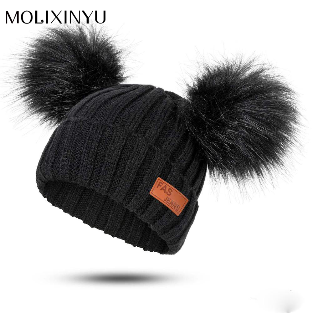 26fa7a7b1 MOLIXINYU New Baby Boy Girl Pom Poms Hat Child Winter Hat Girl Knit ...