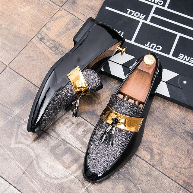 tassel designer leather dress men shoes italian rhinestones slip on dress male footwear shiny flats wedding oxford shoes for men