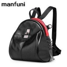 MANFUNI Multifunktionale Echtem Leder Rucksack Für Frauen Lady Schultertasche Persönlichkeit niet rucksack schwarz weiß 0830