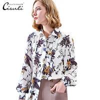 CISULI 100% Mulberry Silk Blouses Women Shirts Silk Crepe Fabric Natural Silk Flower Printed Shirts