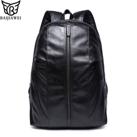 BAIJIAWEI Brand D Oil Wax PU Leather Backpack Men S Travel Bags Western College Style Fashion