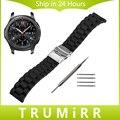 22mm Faixa De Relógio de Borracha de Silicone de Segurança Engrenagem da Bracelete para Samusng S3 Clássico Fronteira Cinto Substituição Pulseira Preta + ferramenta